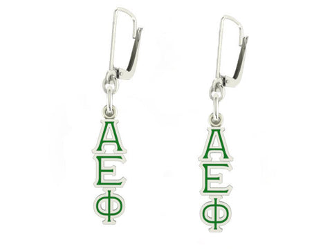 Alpha Epsilon Phi Lavaliere Lever-back Enamel Earrings
