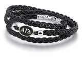 Alpha Gamma Delta Antiqued Top Black Leather Wrap Bracelet