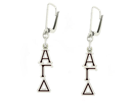 Alpha Gamma Delta Lavaliere Lever-back Black Enamel Earrings