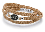 Alpha Omicron Pi Antiqued Top Brown Leather Wrap Bracelet