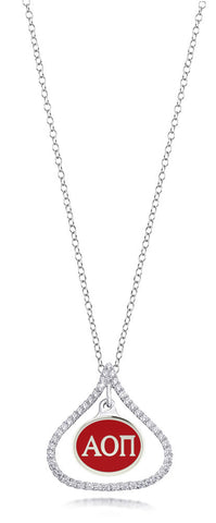 Alpha Omicron Pi Sterling Silver and CZ Necklace