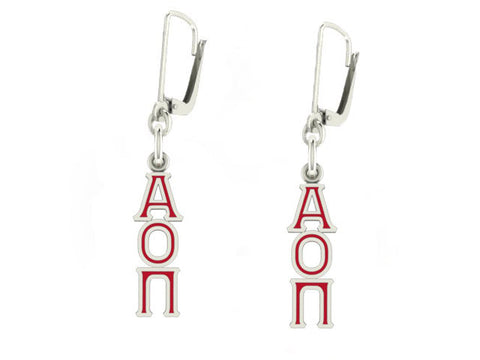 Alpha Omicron Pi Lavaliere Lever-back Enamel Earrings