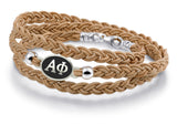 Alpha Phi Antiqued Top Brown Leather Wrap Bracelet
