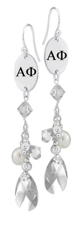 Alpha Phi Greek Letters Clear Crystal and Freshwater Pearl Earrings