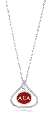 Alpha Sigma Alpha Sterling Silver and CZ Necklace