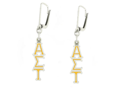 Alpha Sigma Tau Lavaliere Lever-back Enamel Earrings