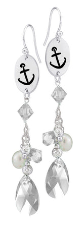 Alpha Sigma Tau Symbol Clear Crystal and Freshwater Pearl Earrings