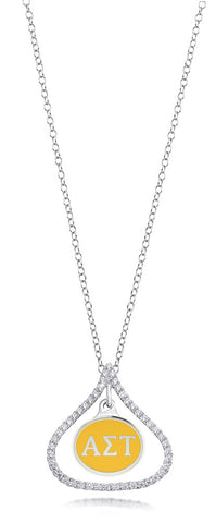 Alpha Sigma Tau Sterling Silver and CZ Necklace
