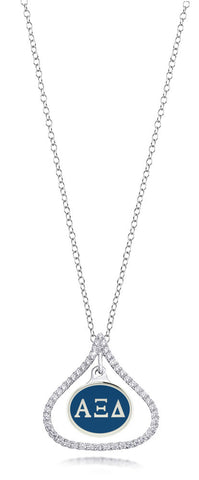 Alpha Xi Delta Sterling Silver and CZ Necklace