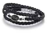 Alpha Omega Epsilon Antiqued Top Black Leather Wrap Bracelet