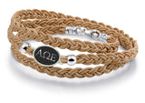 Alpha Omega Epsilon Antiqued Top Brown Leather Wrap Bracelet