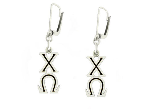 Chi Omega Lavaliere Lever-back Black Enamel Earrings