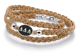Delta Delta Delta Antiqued Top Brown Leather Wrap Bracelet