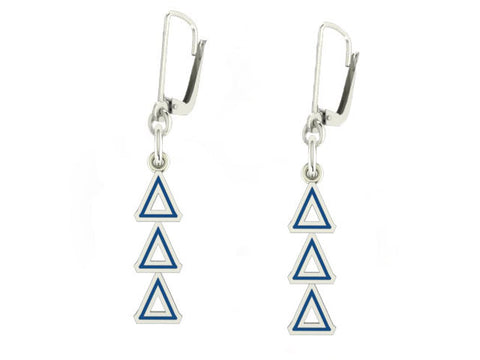 Delta Delta Delta Lavaliere Lever-back Enamel Earrings
