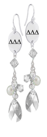 Delta Delta Delta Greek Letters Clear Crystal and Freshwater Pearl Earrings