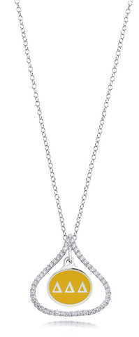 Delta Delta Delta Sterling Silver and CZ Necklace