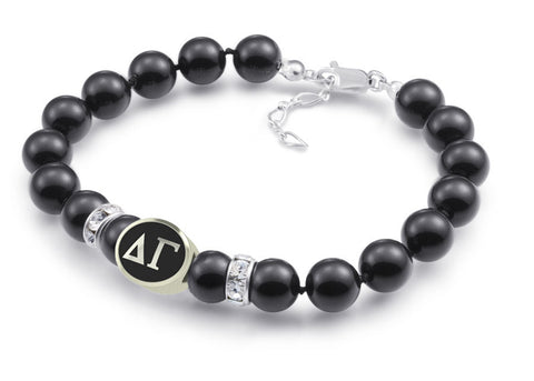 Delta Gamma Black Pearl Antique Bead Bracelet