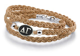 Delta Gamma Antiqued Top Brown Leather Wrap Bracelet
