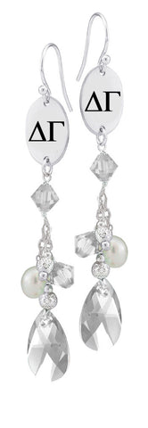 Delta Gamma Greek Letters Clear Crystal and Freshwater Pearl Earrings