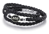 Delta Phi Epsilon Antiqued Top Black Leather Wrap Bracelet