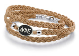 Delta Phi Epsilon Antiqued Top Brown Leather Wrap Bracelet