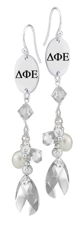 Delta Phi Epsilon Greek Letters Clear Crystal and Freshwater Pearl Earrings