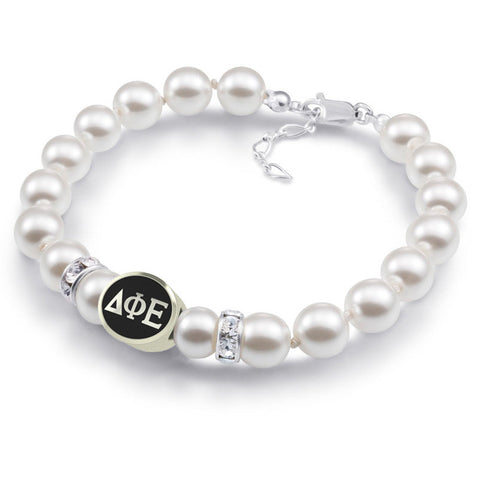 Delta Phi Epsilon White Pearl Antique Bead Bracelet