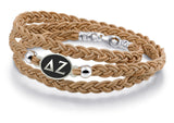 Delta Zeta Antiqued Top Brown Leather Wrap Bracelet