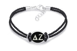 Delta Zeta Double Strand Rubber Bracelet with Antiqued Enamel Top