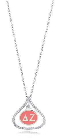 Delta Zeta Sterling Silver and CZ Necklace