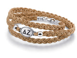 Delta Zeta Brown Leather Wrap Bracelet with Brushed Silver Top