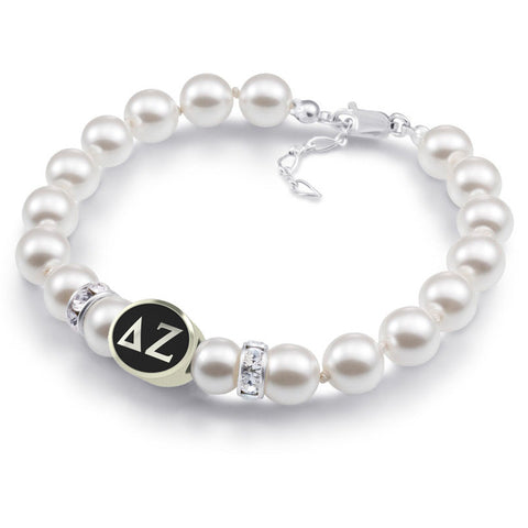 Delta Zeta White Pearl Antique Bead Bracelet
