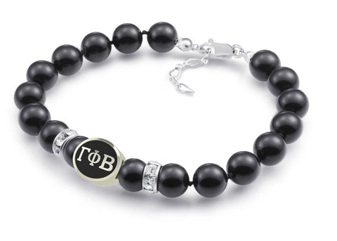Gamma Phi Beta Black Pearl Antique Bead Bracelet