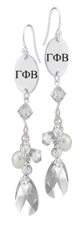 Gamma Phi Beta Greek Letters Clear Crystal and Freshwater Pearl Earrings