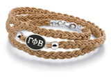 Gamma Phi Beta Antiqued Top Brown Leather Wrap Bracelet