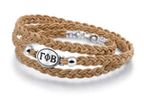 Gamma Phi Beta Brown Leather Wrap Bracelet with Brushed Silver Top
