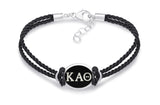 Kappa Alpha Theta Double Strand Rubber Bracelet with Antiqued Enamel Top