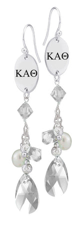 Kappa Alpha Theta Greek Letters Clear Crystal and Freshwater Pearl Earrings