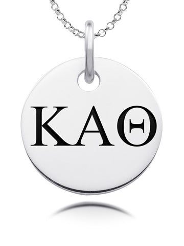 Kappa Alpha Theta Sorority Laser Engraved Silver Round Charm Jewelry