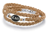 Kappa Alpha Theta Antiqued Top Brown Leather Wrap Bracelet