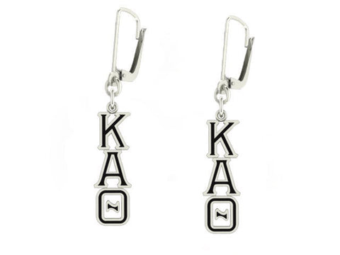 Kappa Alpha Theta Lavaliere Lever-back Black Enamel Earrings