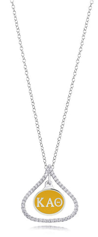 Kappa Alpha Theta Sterling Silver and CZ Necklace