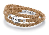 Kappa Alpha Theta Brown Leather Wrap Bracelet with Brushed Silver Top