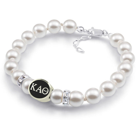 Kappa Alpha Theta White Pearl Antique Bead Bracelet