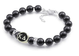 Kappa Delta Black Pearl Antique Bead Bracelet