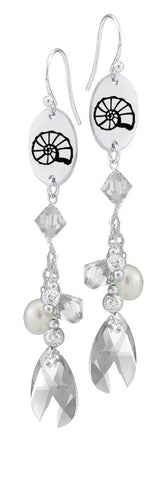 Kappa Delta Symbol Clear Crystal and Freshwater Pearl Earrings