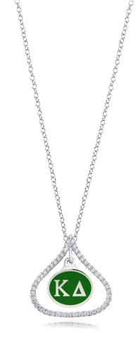 Kappa Delta Sterling Silver and CZ Necklace