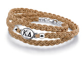 Kappa Delta Brown Leather Wrap Bracelet with Brushed Silver Top
