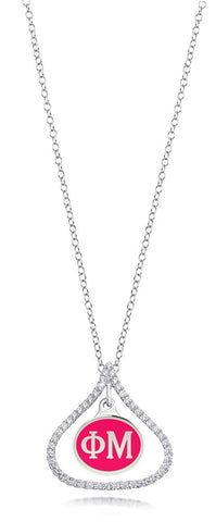 Phi Mu Sterling Silver and CZ Necklace