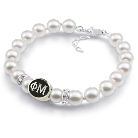 Phi Mu White Pearl Antique Bead Bracelet